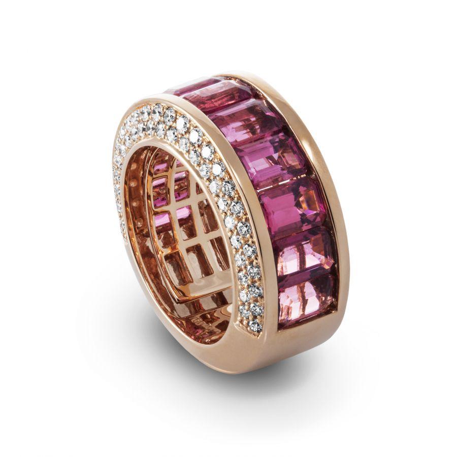 Band ring Rosa Turmalin 1,128 ct