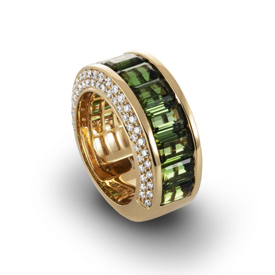 Band ring Grön Turmalin 1,128 ct